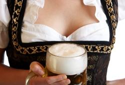 Bierkeller Bavarian Woman Hold Stein of Beer