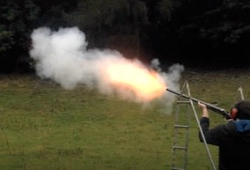 Clay Pigeon Shooting Gun in mid shot