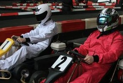 Indoor Karting drivers on the start line
