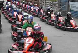 A very large stag group in outdoor karts