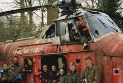 Stag Party playing paintball from outside of an old RAF helicopter