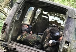 Paintballing out of a back of a car in Swansea