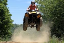 Quad Bike Racing in Newquay, quad bike gets some air