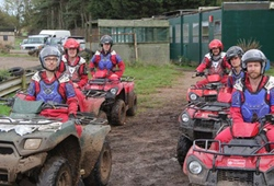 Stag party going out on quad bikes