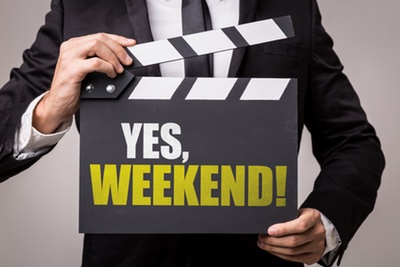 Clapper Board with Yes Weekend